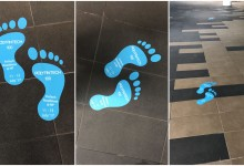Floor stickers at Ngee Ann Poly